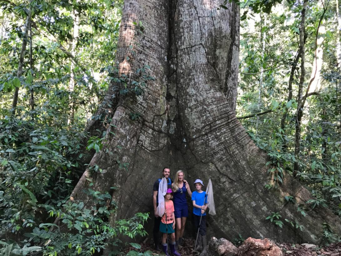 On a family volunteering opportunity abroad, a family take a photo during their Peru Conservation Project.